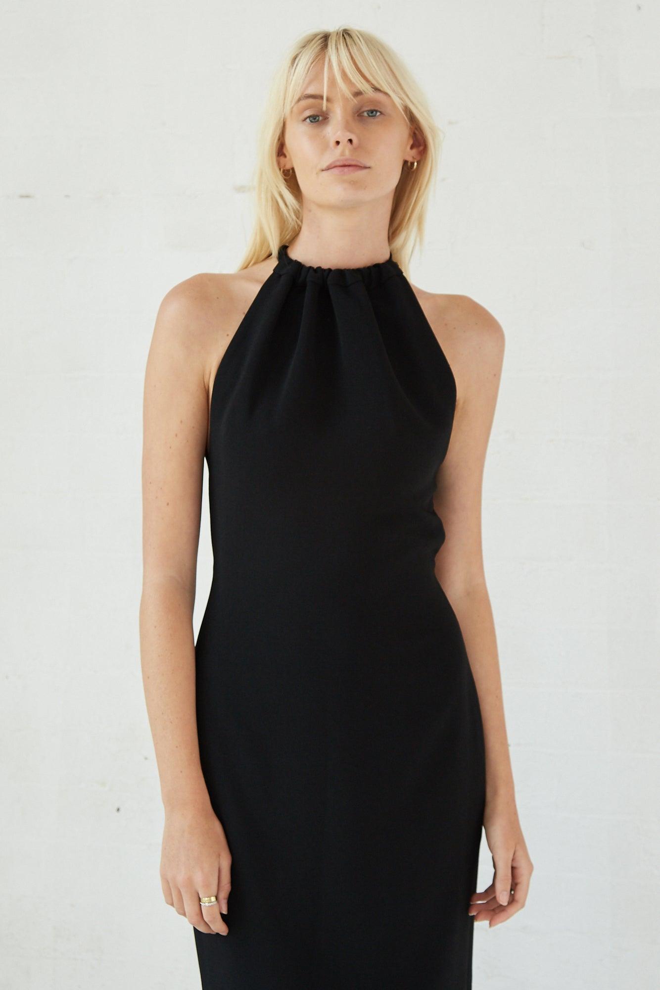 TIE UP NECK MIDI | BLACK
