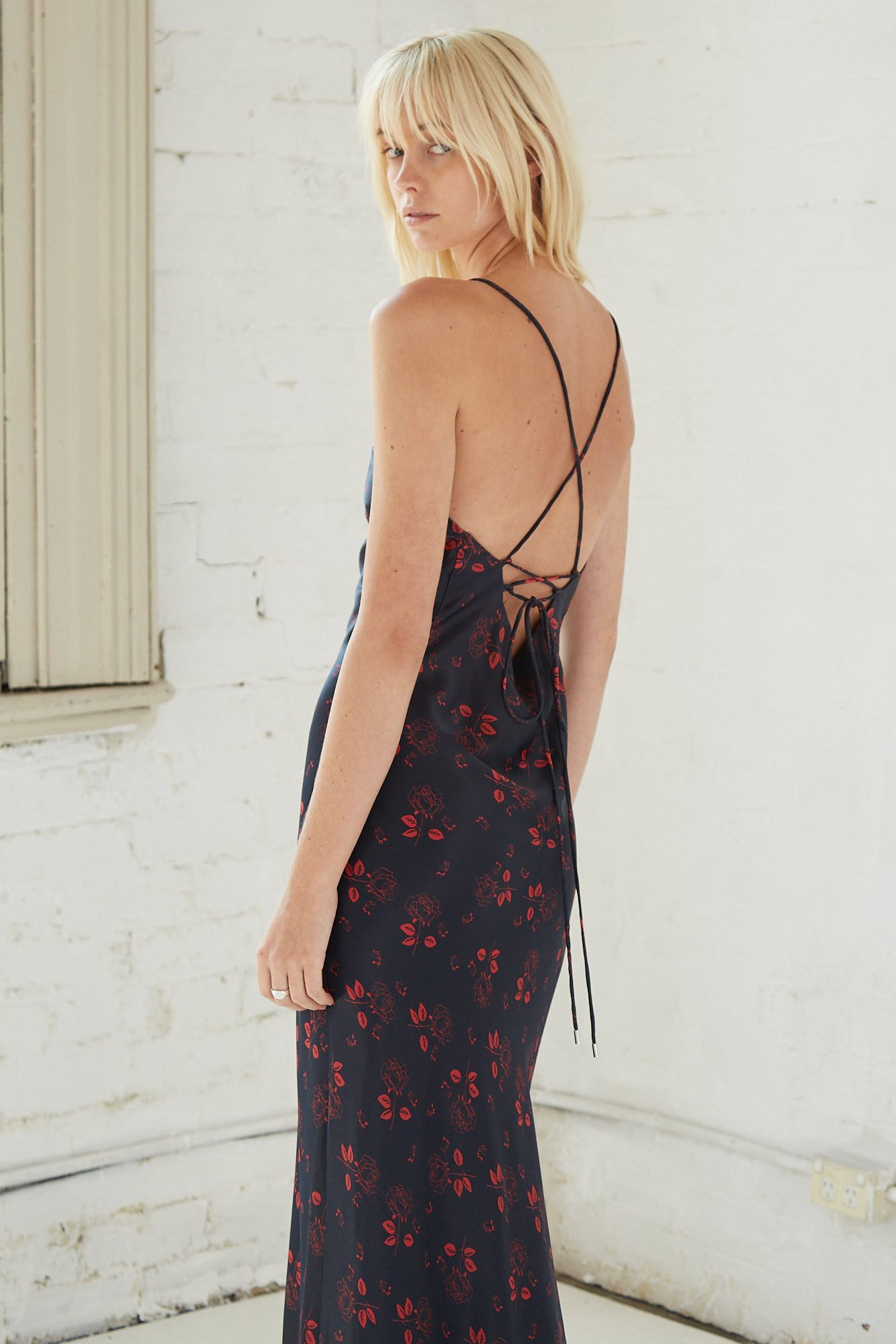 BLOOM BIAS SLIP DRESS | ROSE FLOWER