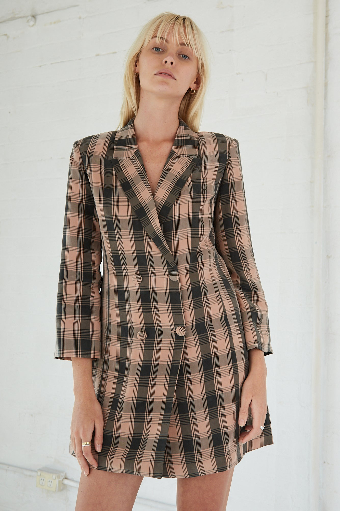 CHECKING OUT BLAZER | PEACH CHECK