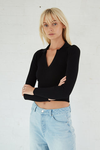 COLLARED KNIT LS TOP | BLACK