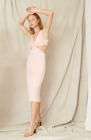 TWISTED  CUT AWAY MIDI DRESS | ROSE