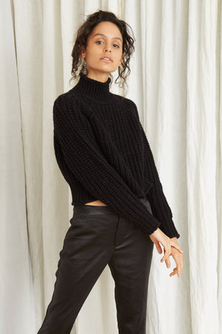 OWN BEAT CHUNKY TURTLENECK | BLACK