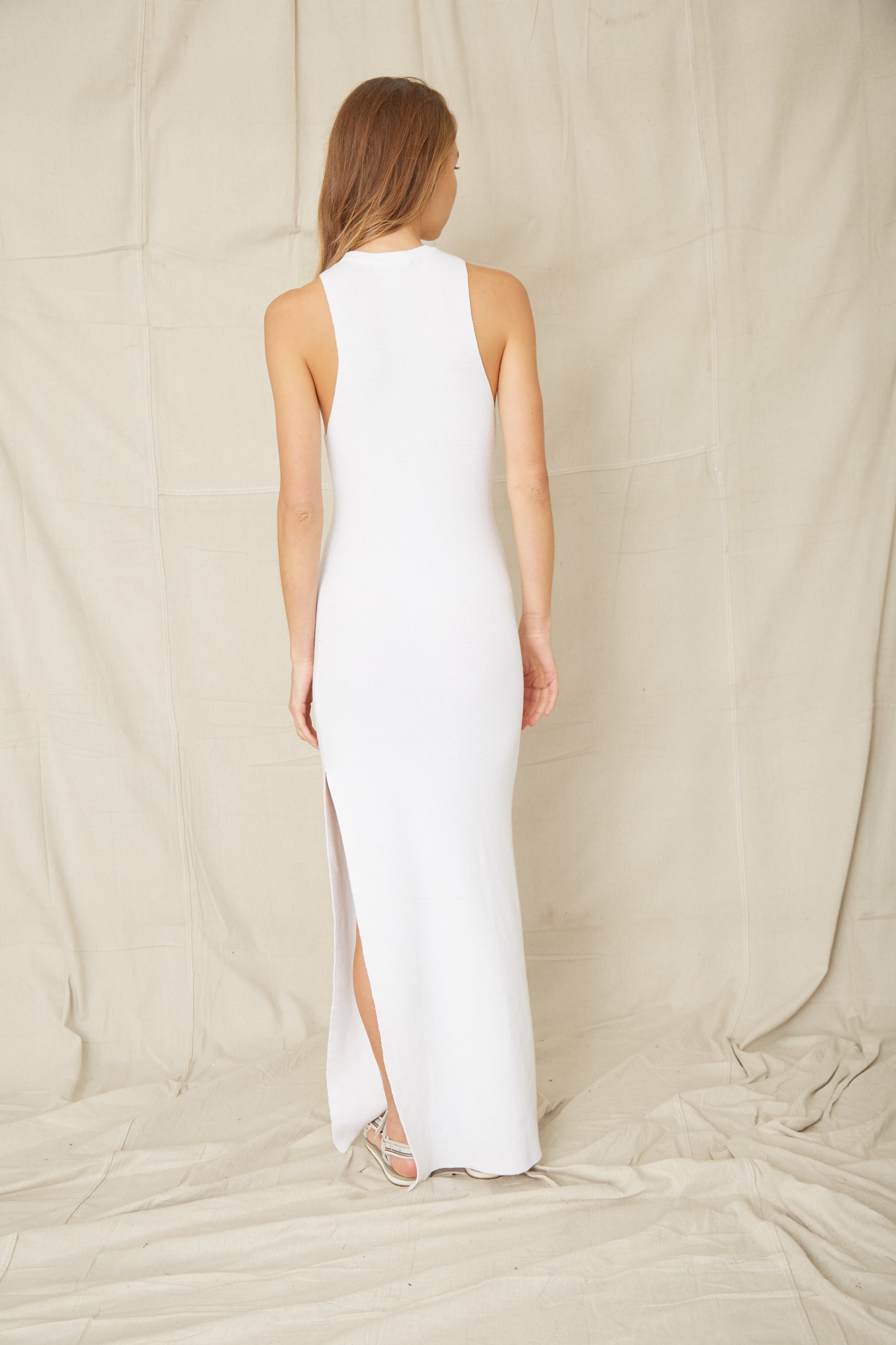 CAST AWAY KNIT MAXI TANK DRESS | OFF WHITE