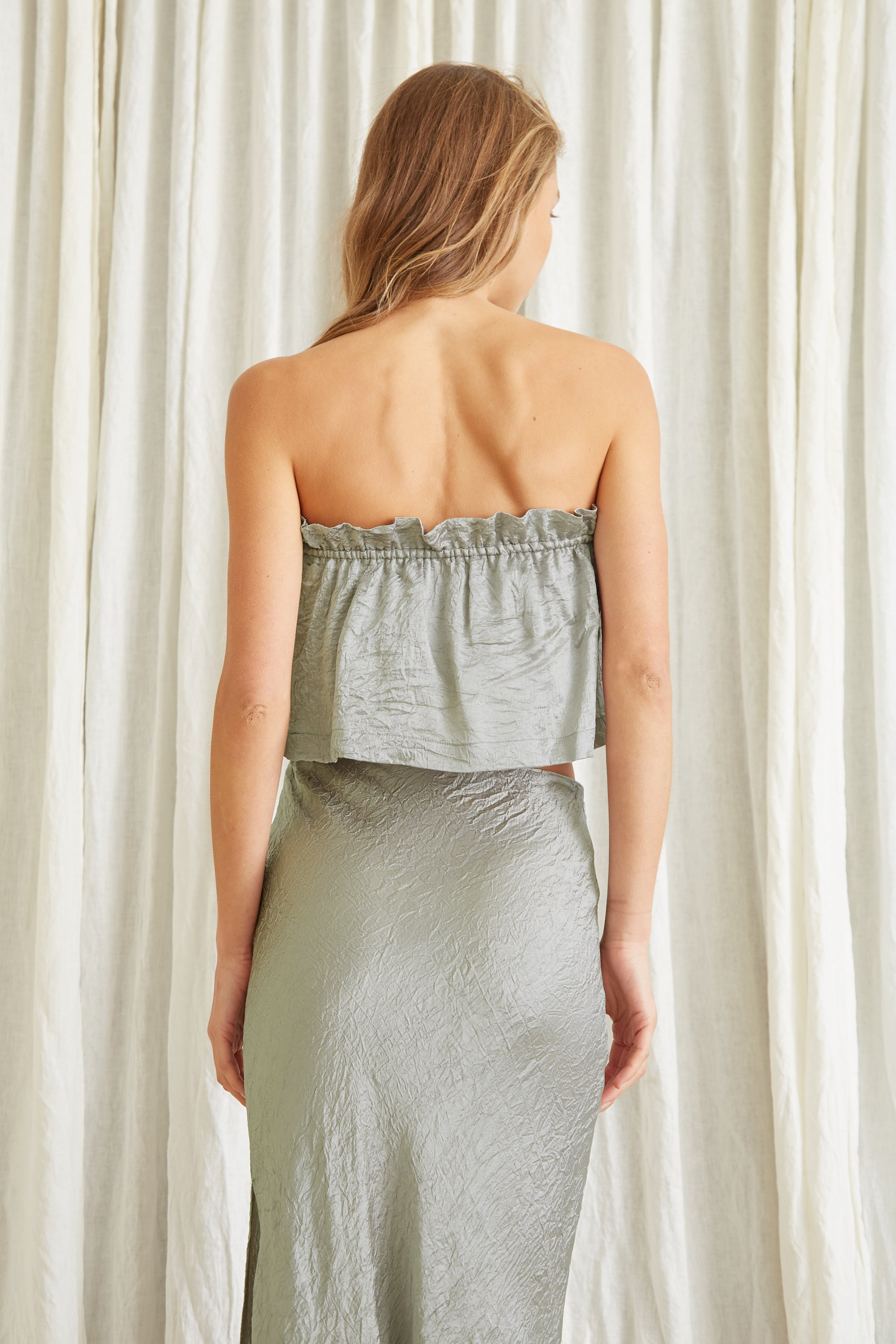 WATERS EDGE STRAPLESS TOP | SAGE