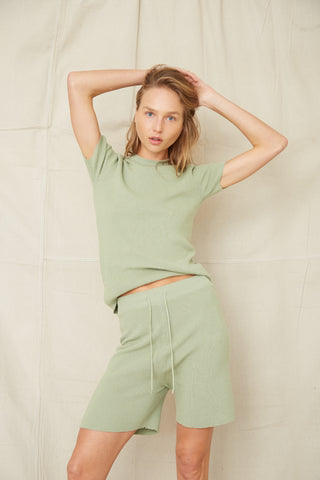 CAST AWAY KNIT RELAXED SHORT | PISTACHIO