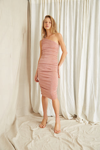 STAR DUST ONE SHOULDER MIDI | BLUSH