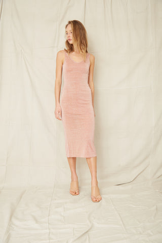 STAR DUST SCOOPED TANK DRESS | BLUSH