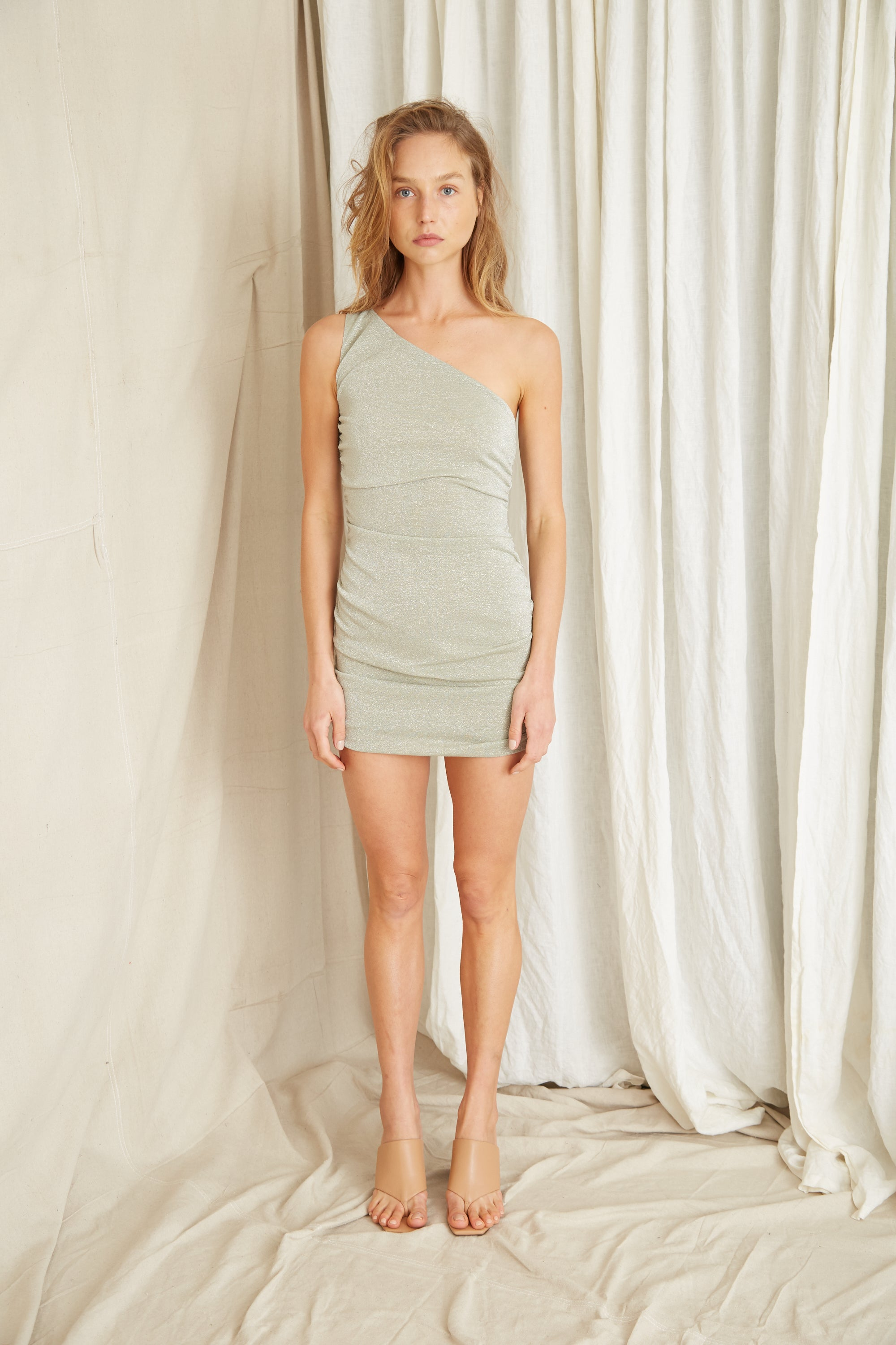 STAR DUST ONE SHOULDER MINI | SAGE