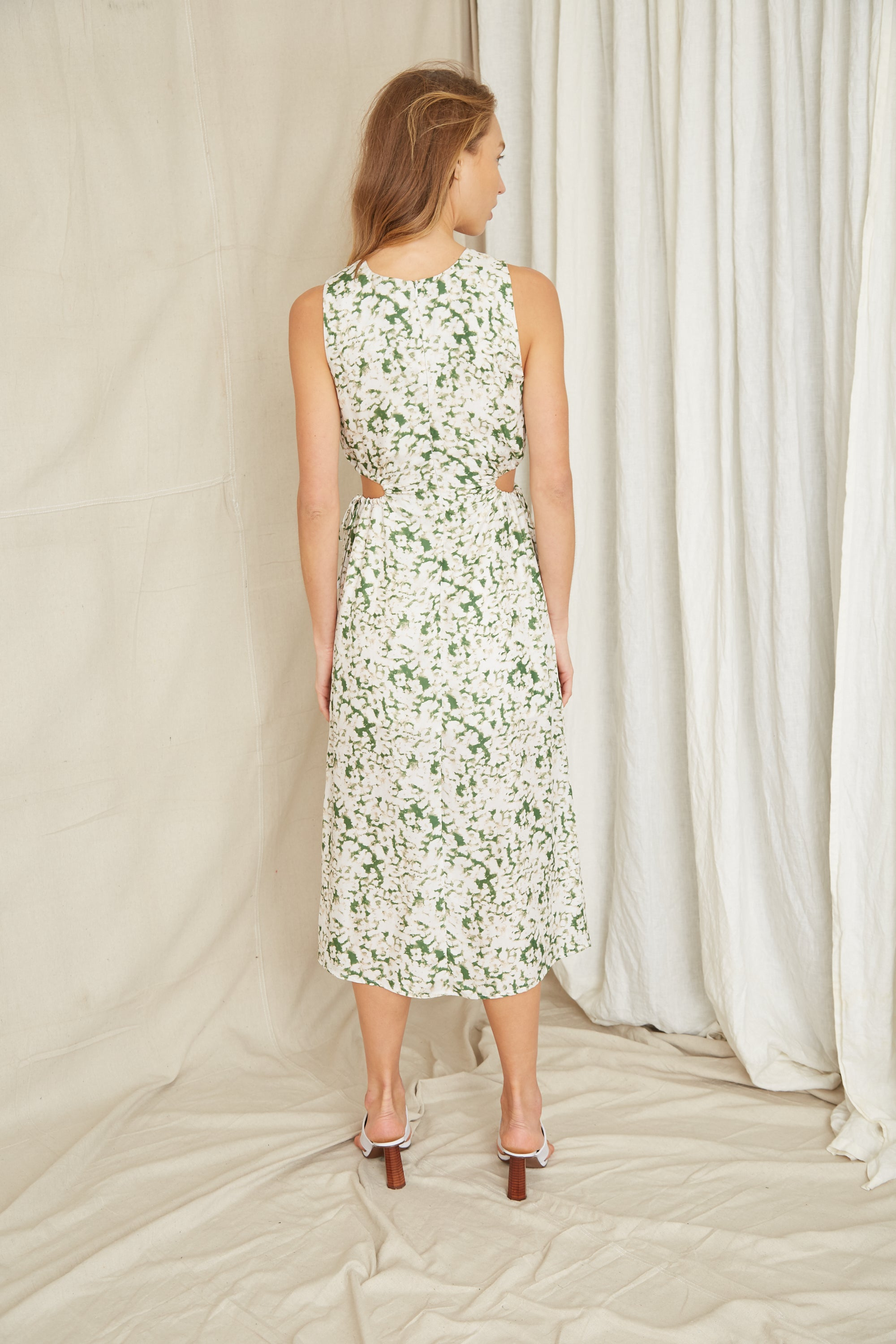 PRESSED FLOWERS DRAW SIDE MIDI | FLORAL