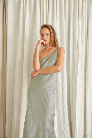 WATERS EDGE ONE SHOULDER MAXI | SAGE
