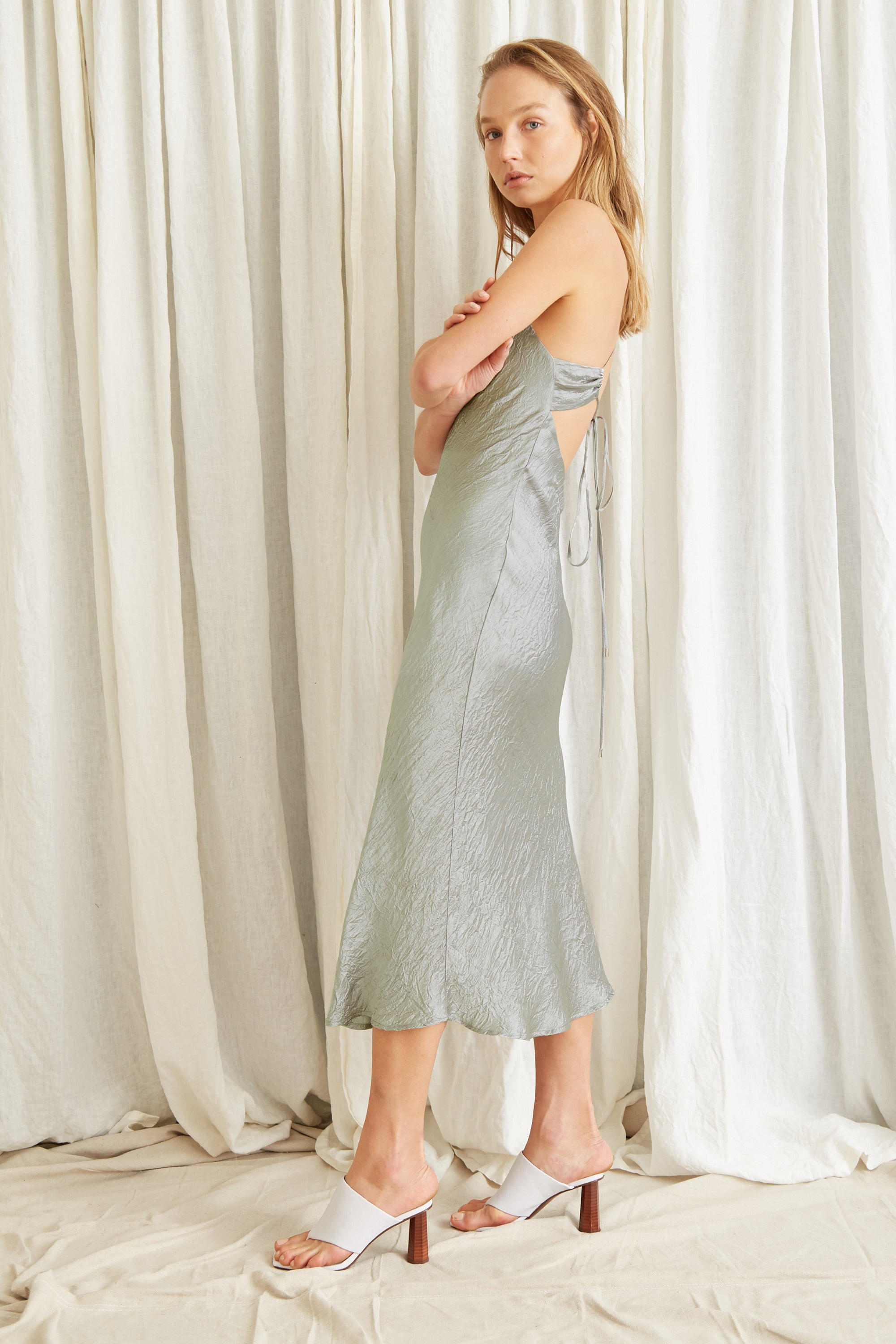 WATERS EDGE BIAS SLIP DRESS | SAGE