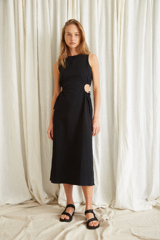 PRESSED FLOWERS DRAW SIDE MIDI | BLACK