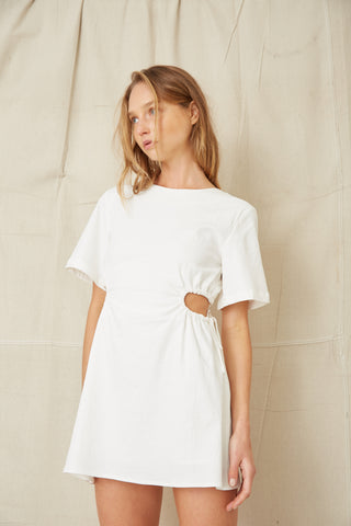 PRESSED FLOWERS DRAW SIDE TEE DRESS | OFF WHITE