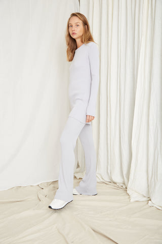 LONG LINES KNIT RIB FLARE | MOONSTONE
