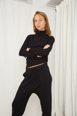 FINE DAYS KNIT TURTLENECK | BLACK