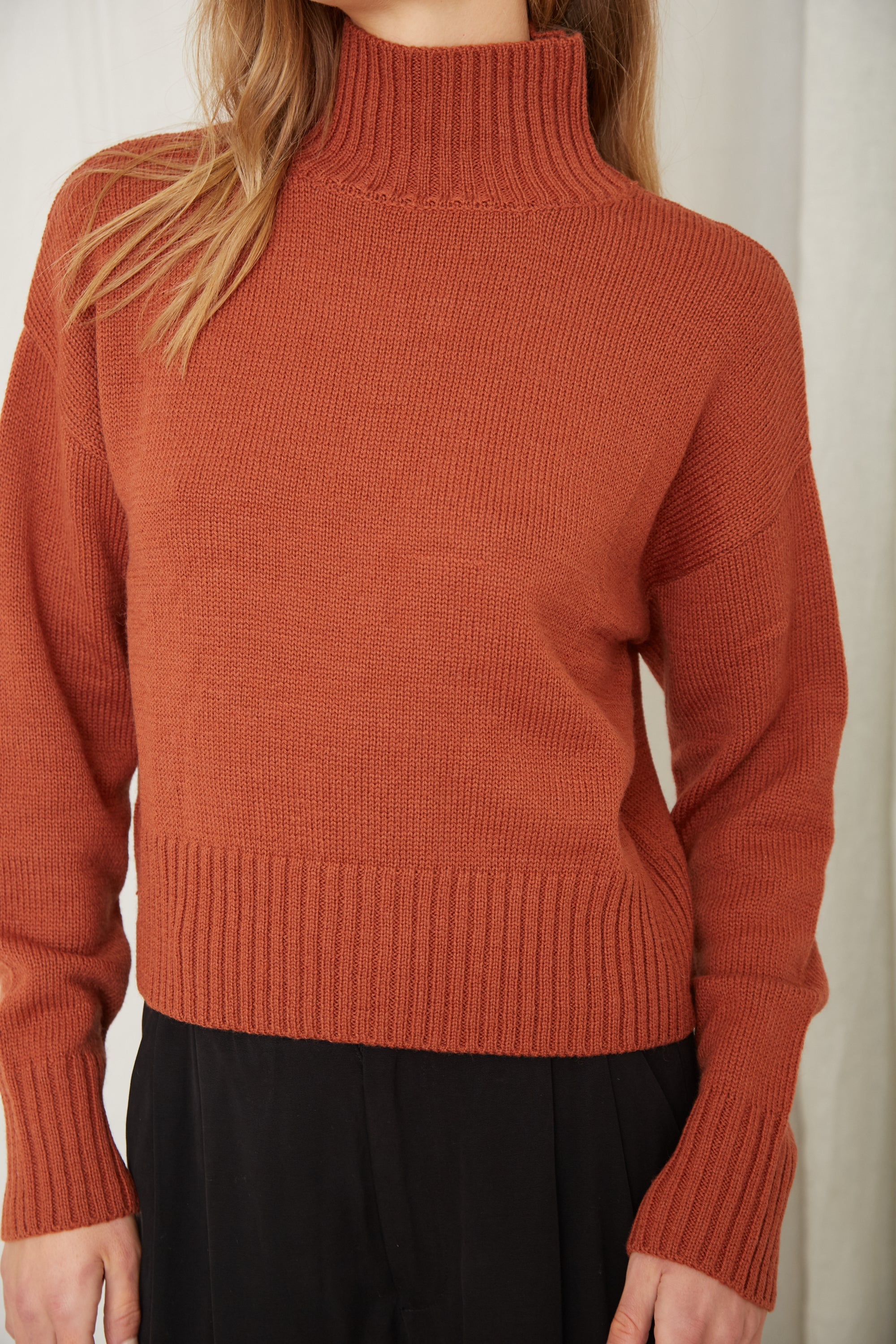 LIFT UP KNIT TURTLE NECK | RUST