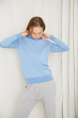 FINE DAYS KNIT TURTLENECK | POWDER BLUE