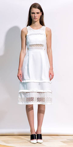 White Lace and Fringe Dress - URBAN CLUB Designer Fashion Boutique