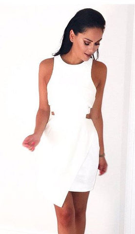 N12H White Cut-out Dress - URBAN CLUB Designer Fashion Boutique