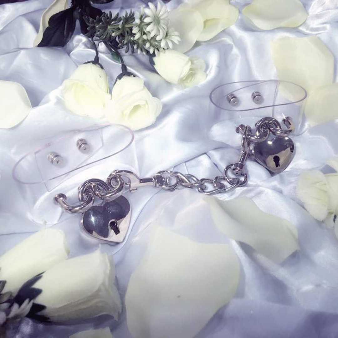 Transparent Handcuffs with Silver Heart Lock for kinky play ♥ so cute lolita #kawaiikink #kinkpositive ♥ Shop more at BABY VOODOO ♥ International Shipping
