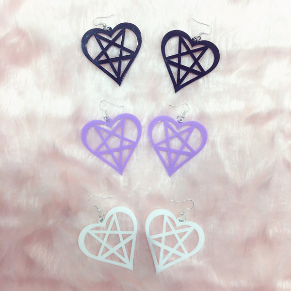 magical girl acrylic heart star earrings at BABY VOODOO - babyvoodoo.com - kawaii jewellery