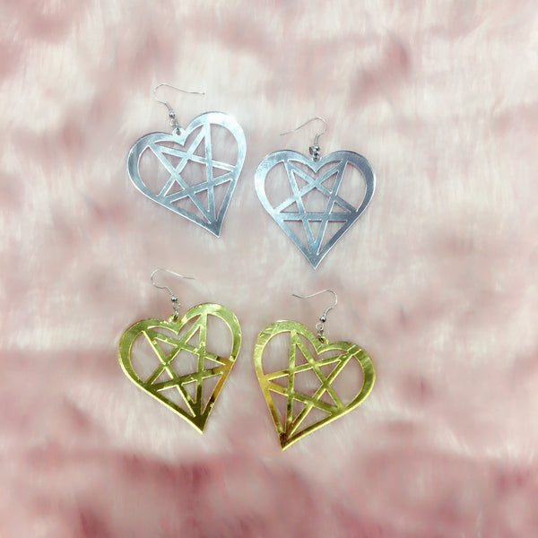 magical babe pastel goth glam mirror silver or gold heart pentagram heart star earrings laser cut acrylic accessories and jewellery at BABYVOODOO.COM
