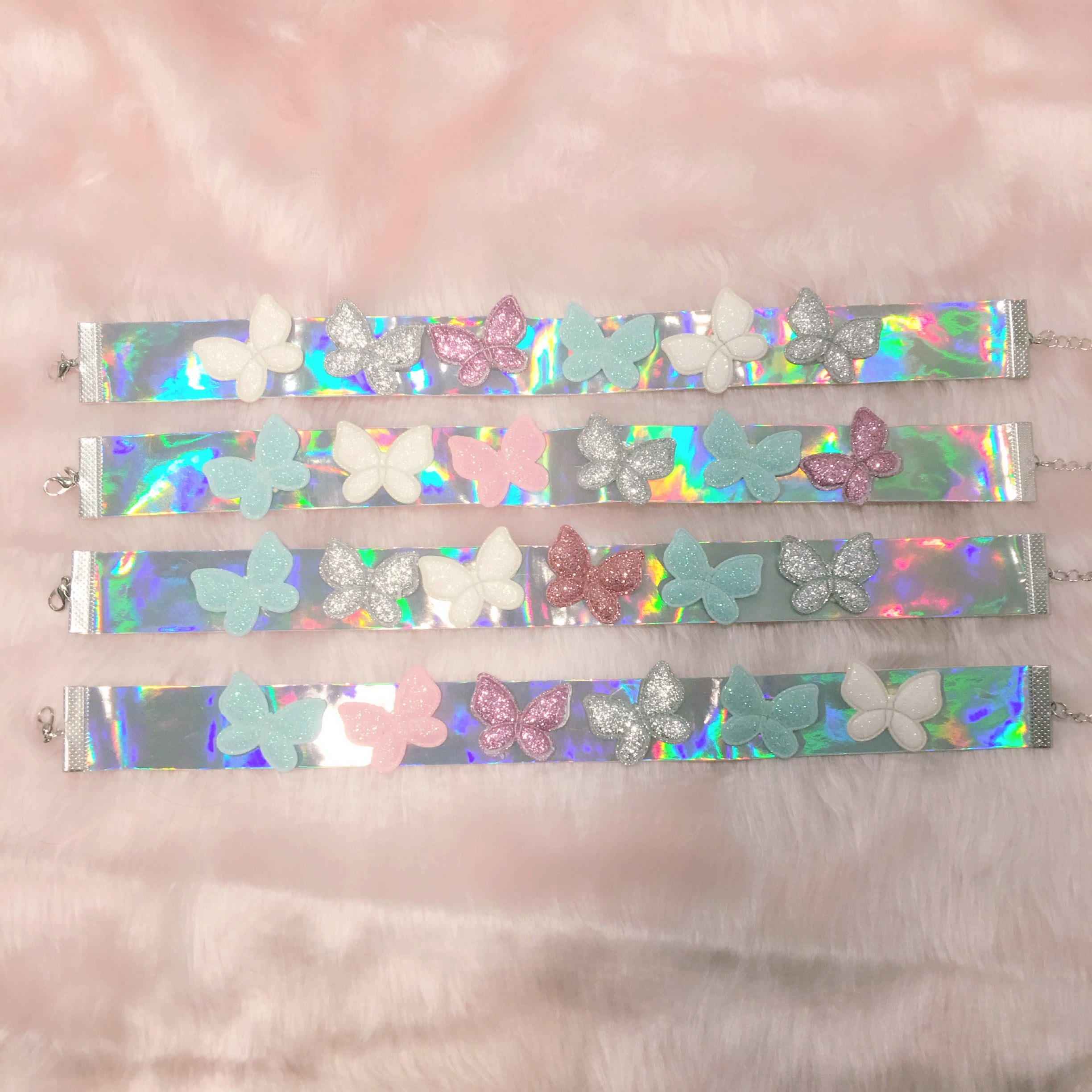 silver holographic jewellery choker collar, pink butterflies at BABY VOODOO