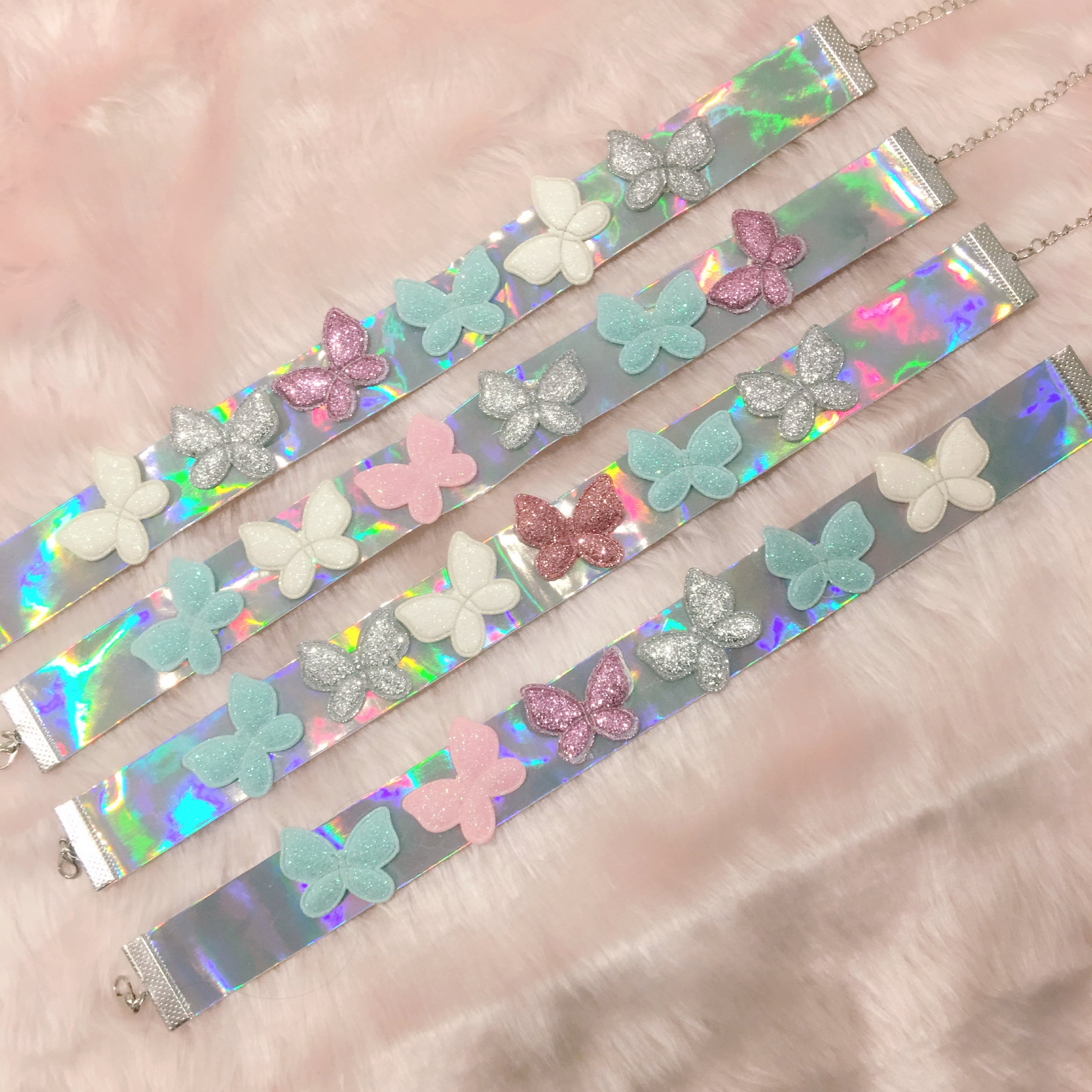 iridescent choker collar holographic necklace with butterflies handmade fashion kawaii pastel aesthetic at BABY VOODOO
