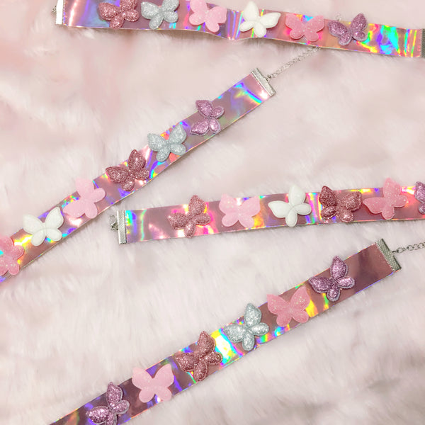 holographic butterfly cyber fashion choker collar necklace fashion shop at BABYVOODOO