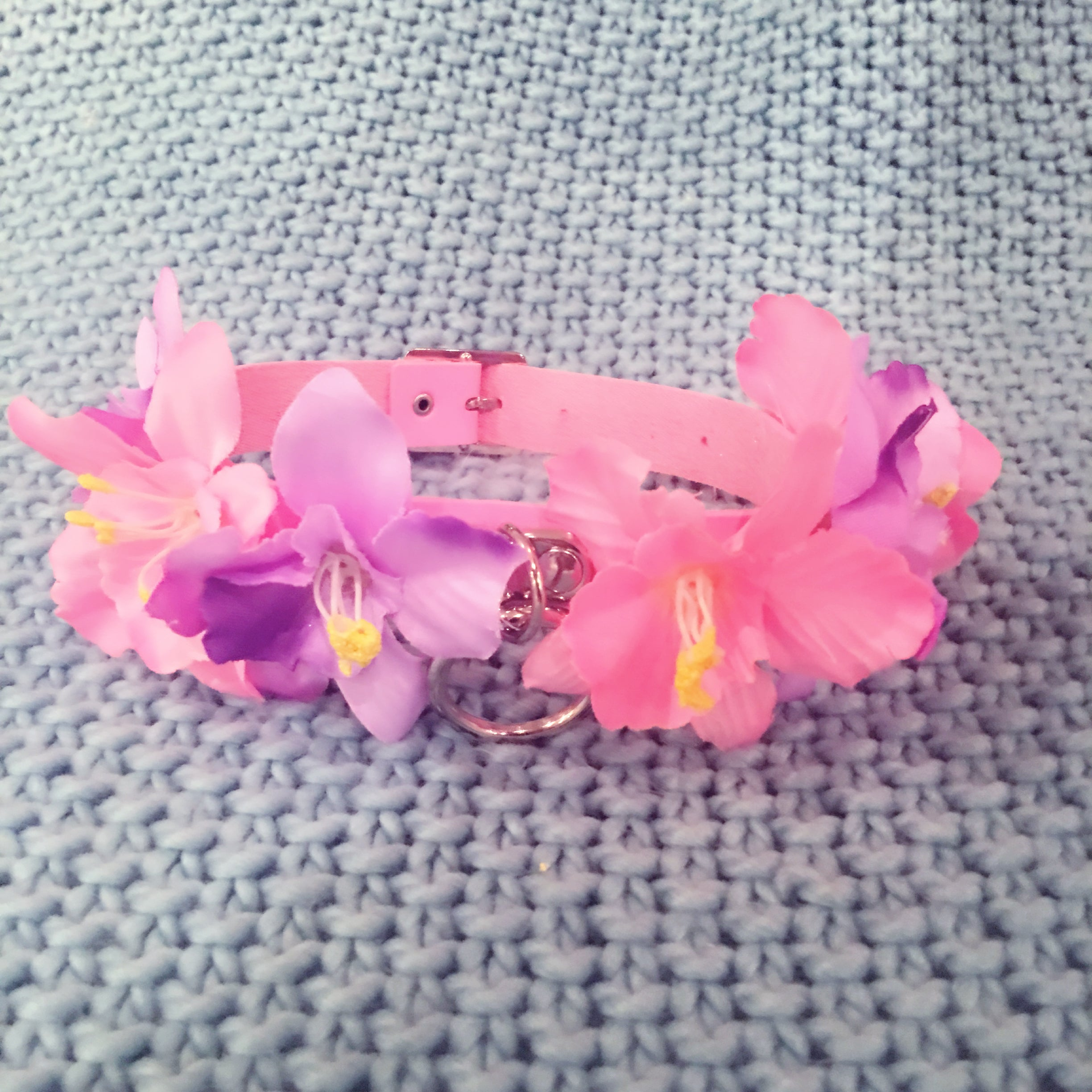 flower pink purple aesthetic choker collar necklace at BABYVOODOO.COM fashion pastel accessories