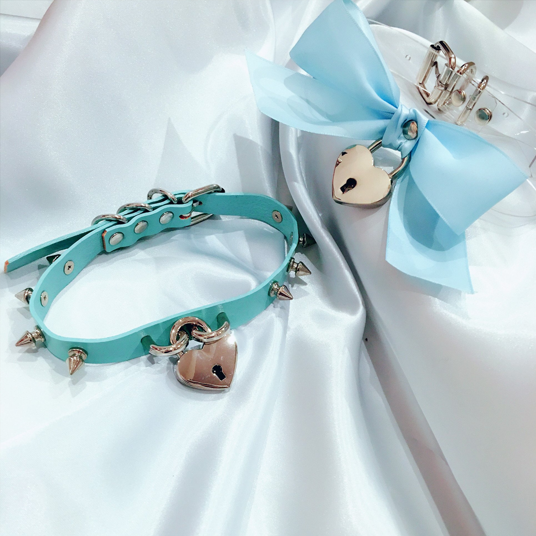 Baby Voodoo - blue bow heart lock choker collar transparent love lolita fashion harajuku -  babyvoodoo.com