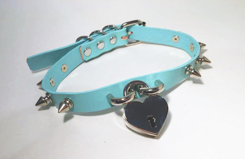 Baby Voodoo Aqua Blue Spiked Pastel Goth Collar Choker with Heart Lock and spikes silk bow harajuku lolita fashion