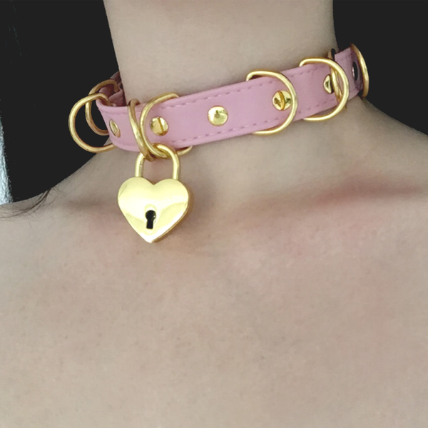 Baby Voodoo Shop pink and gold heart lock choker collar kawaii pastel goth fashion lolita style
