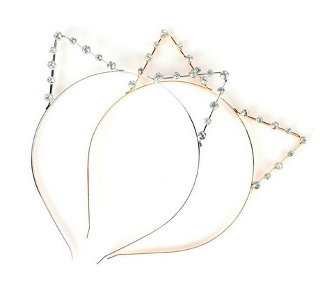 Kitty Ears Crystal Diamon Gold Silver Head Band Hair Accessories - BABYVOODOO - japanese korean lolita princess fashion style