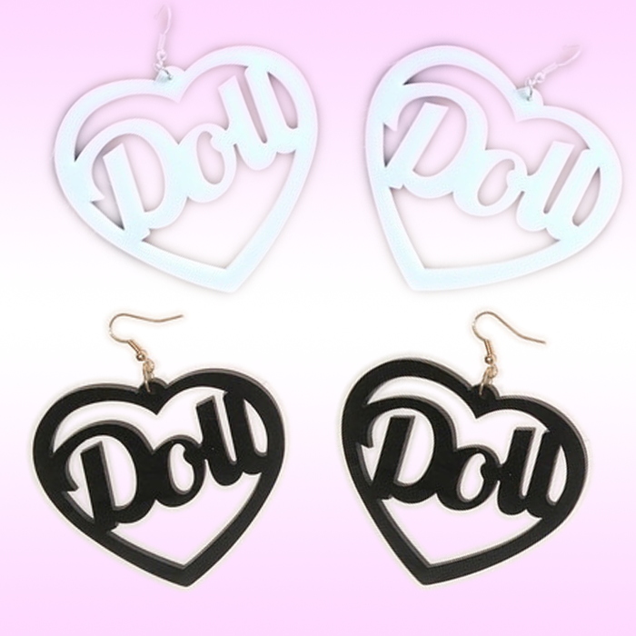 Doll text Heart Earrings Barbie fashion womens jewelry jewellery style kawaii lolita pastel goth love hologram holographic cute at BABYVOODOO.COM