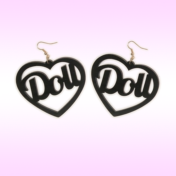 Heart Doll word letter earrings barbie style large black jewelry jewellery fashion lolita kawaii pastel goth available at BABY VODOOO - BabyVoodoo.com
