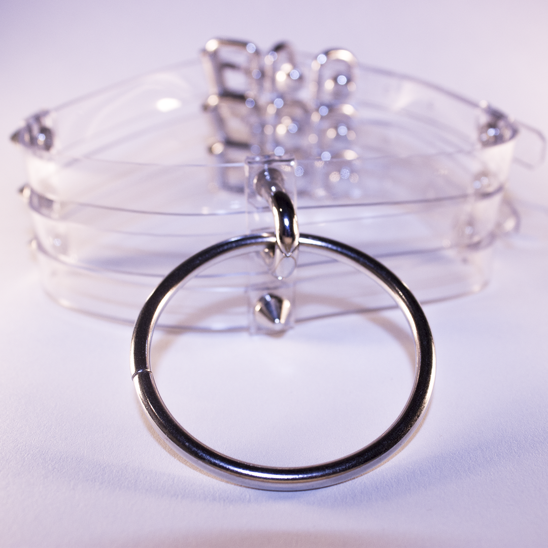 Baby Voodoo Shop transparent o-ring clear choker collar silver ring studs