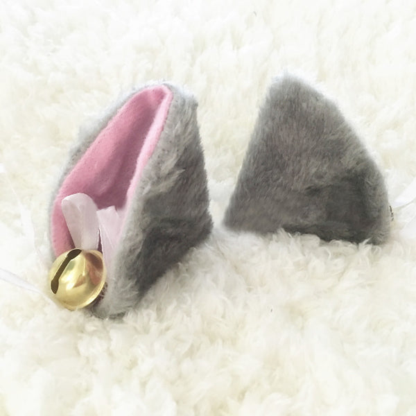 grey kitty ears kitten petplay cute hair accessories hair clips bdsm fashion - BABY VOODOO - babyvoodoo.com