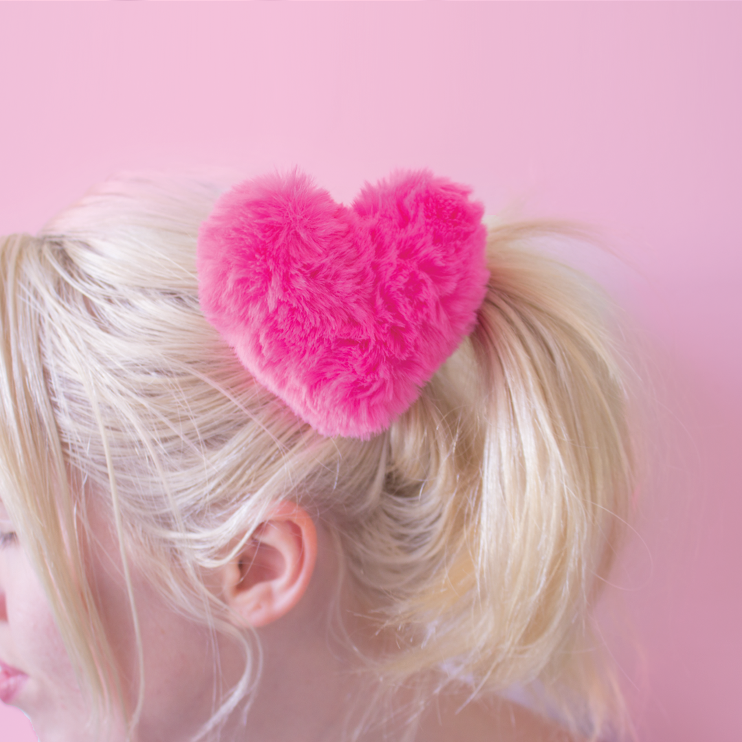 fluffy clip in pink heart hair clips pom pom hair accessories at babyvoodoo.com - shop aesthetic fashion at baby voodoo