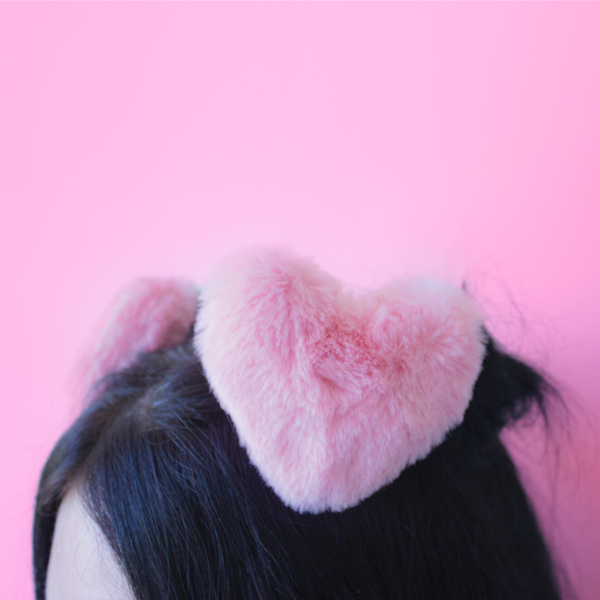 pink heart hair clips large and fluffy hair accessories - shop now at baby voodoo - babyvoodoo.com