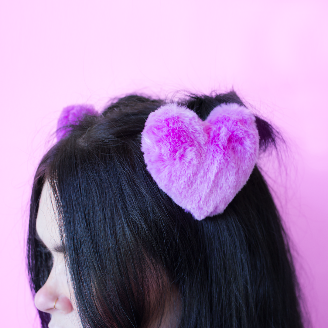 lilac purple fuschia heart hair clips fluffy pom pom hair accessories at baby voodoo - shop babyvoodoo.com