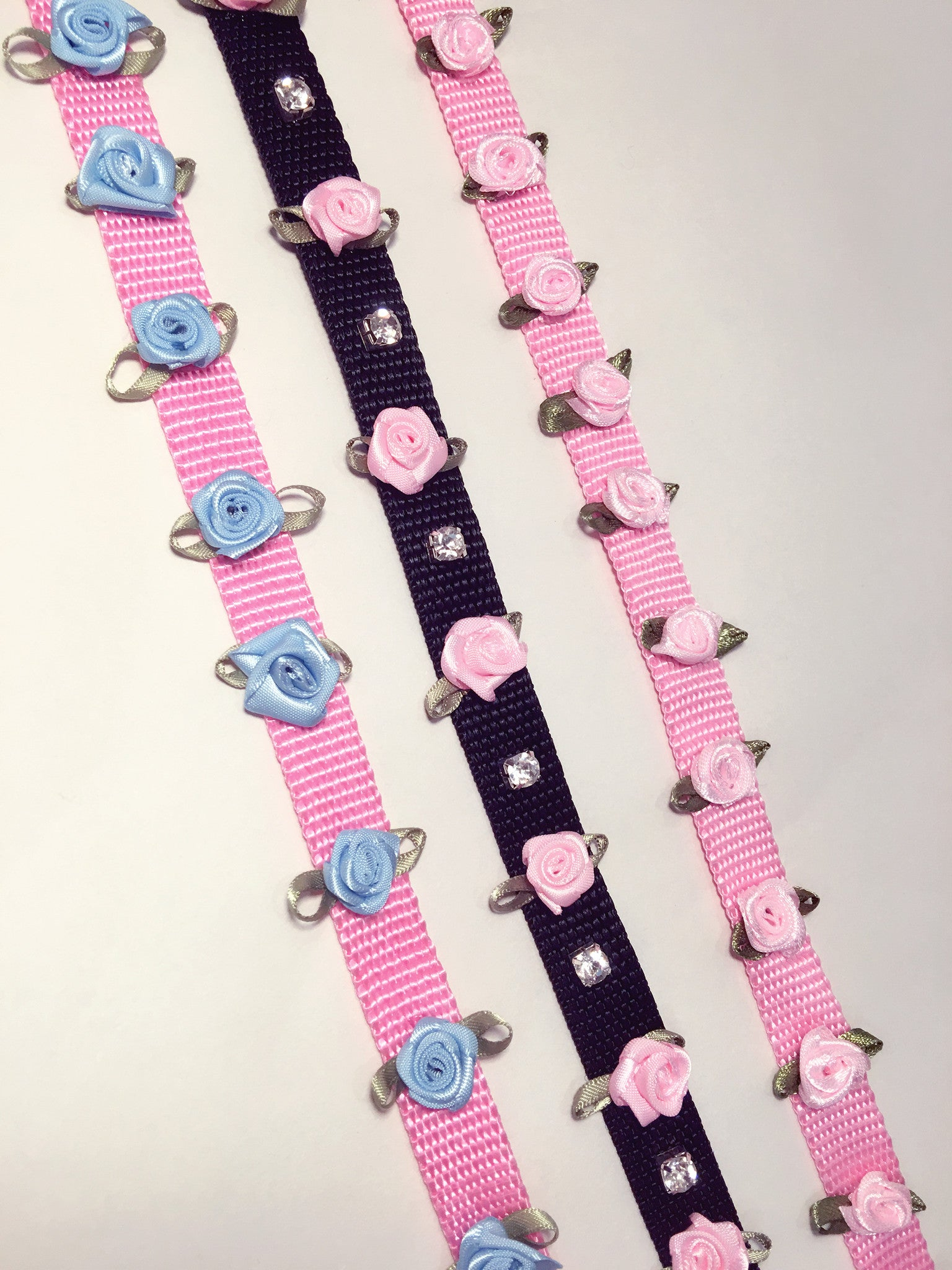 Pink and Blue rose kawaii leash for BDSM play fetish kitten petplay style fashion accessories available at BABY VOODOO  - Shop now at BABYVOODOO.COM ♥