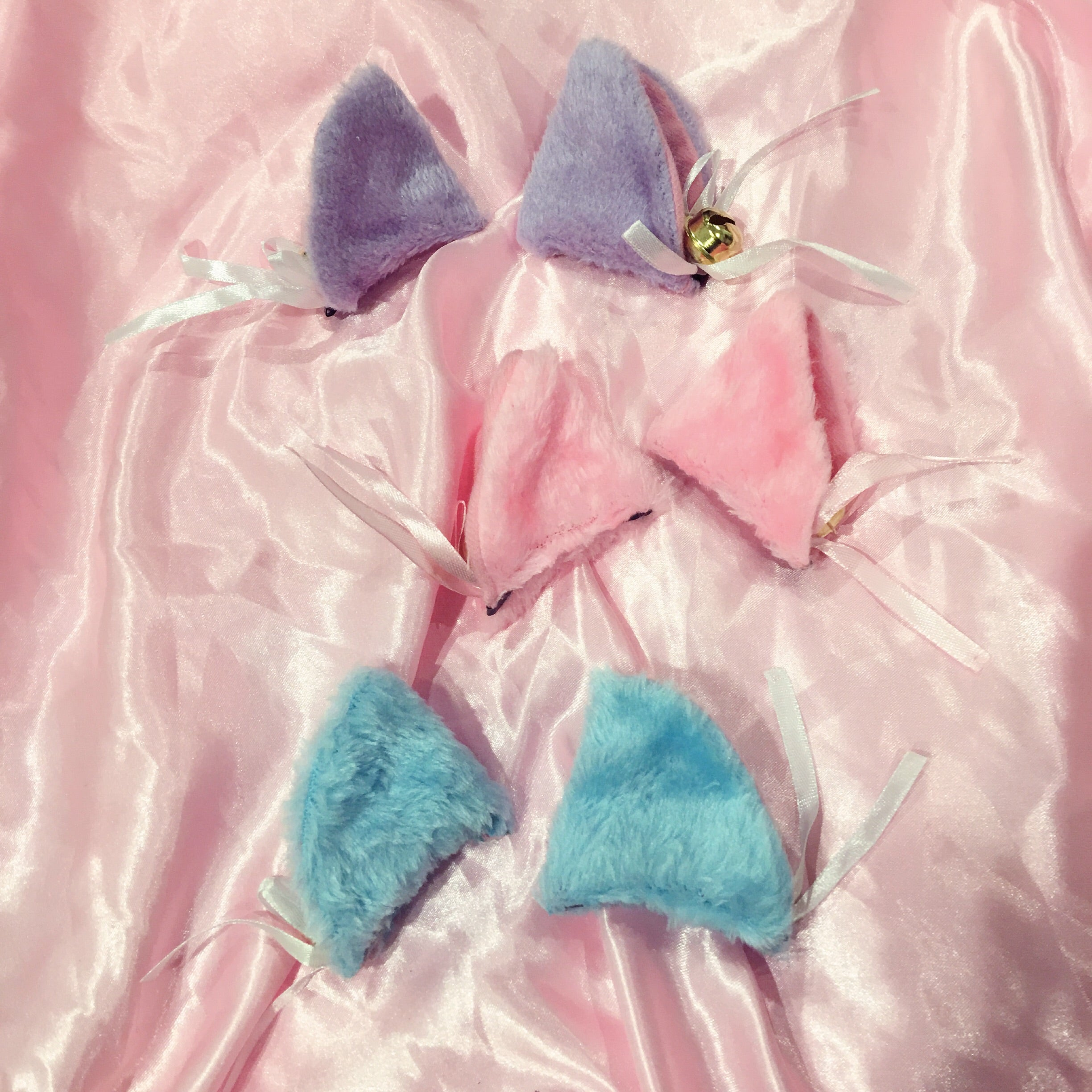 purple kitty ears kitten petplay fashion accessories hair clips pink aqua blue fur bells bows silk cute at BABY VOODOO