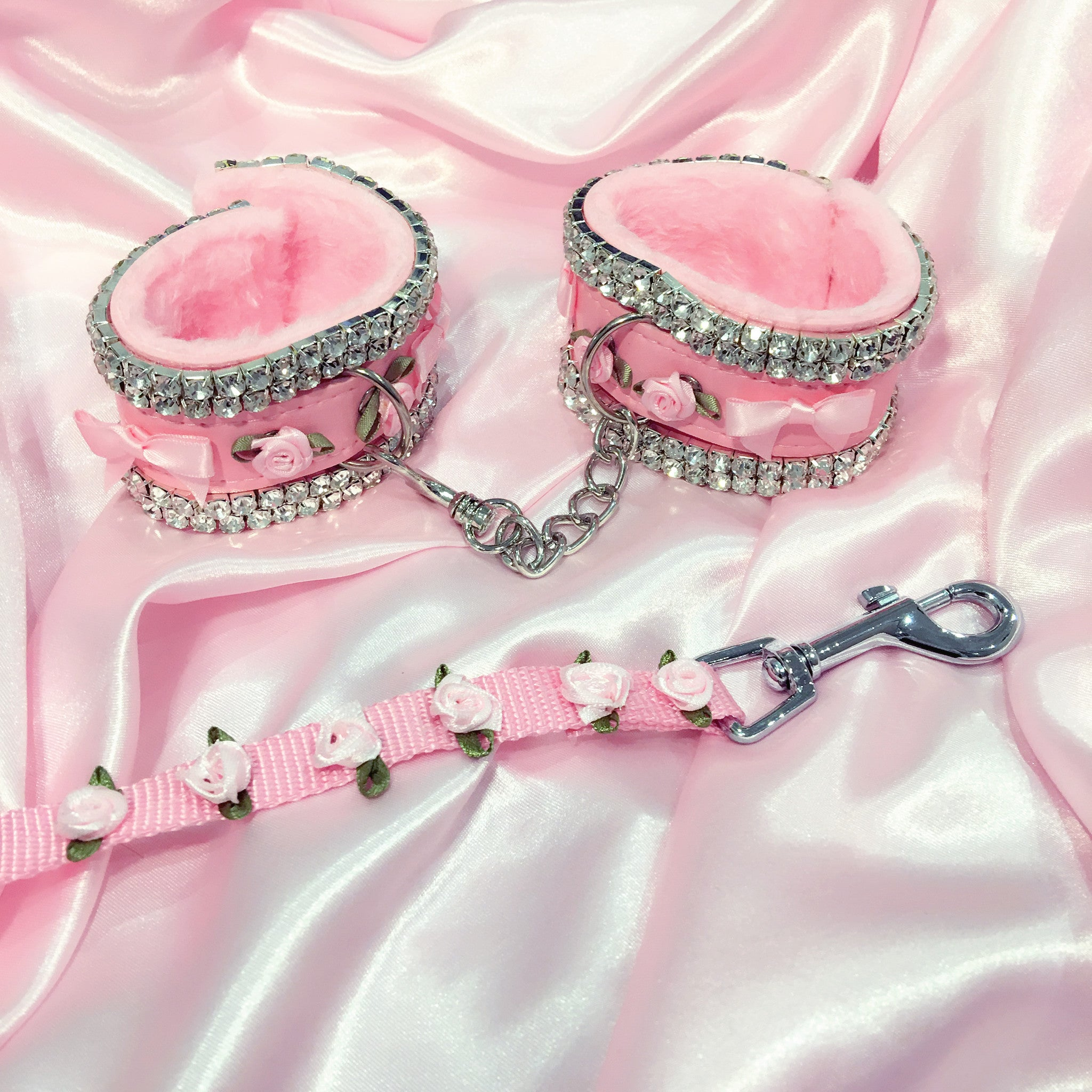 Pink Handcuffs with Diamond Crystals Roses Kawaii Pastel Goth by Loves Whore now available at BABYVOODOO.COM - shop now Baby Voodoo Kawaii Kink Fashion and accessories ♥ princess style lolita ddlg