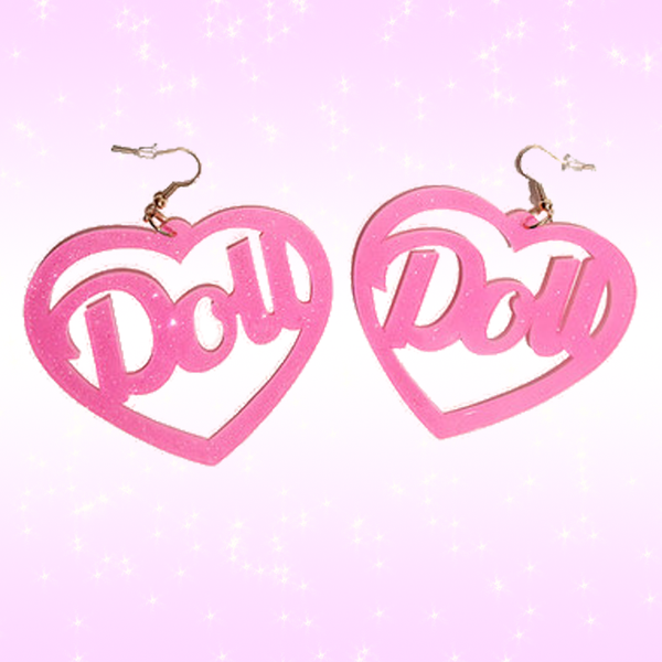 Heart Doll Earrings - Barbie Style Fashion Kawaii Lolita Japanese sexy pink glitter jewelry jewellery available at BABY VOODOO - Shop now at BABY VOODOO.COM