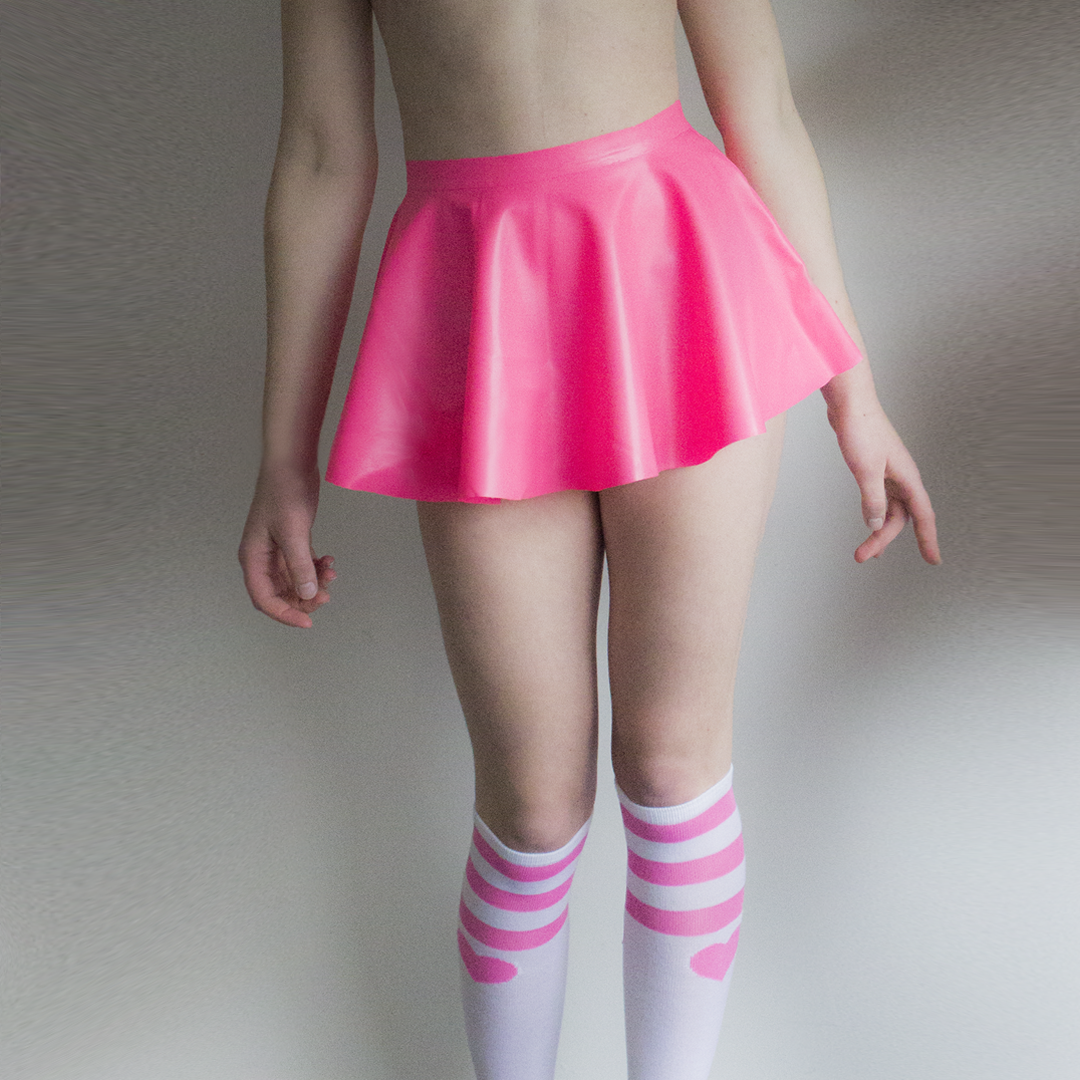 Shokushu Boutique Pink Latex Mini Skater Skirt now available at BABY VOODOO - shop now rubber latex fashion at BABYVOODOO.COM