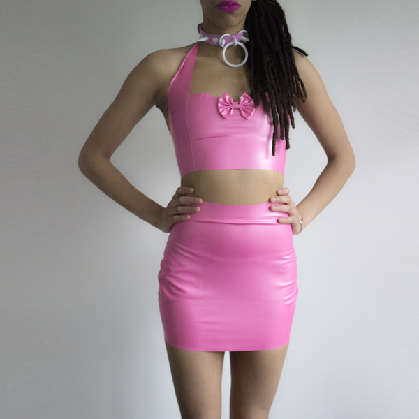 Pink Latex Crop top and skirt set - rubber fashion from Love Penny Plane now available at BABYVOODOO.COM - shop baby voodoo fashion sizes XS-XXL now ♥