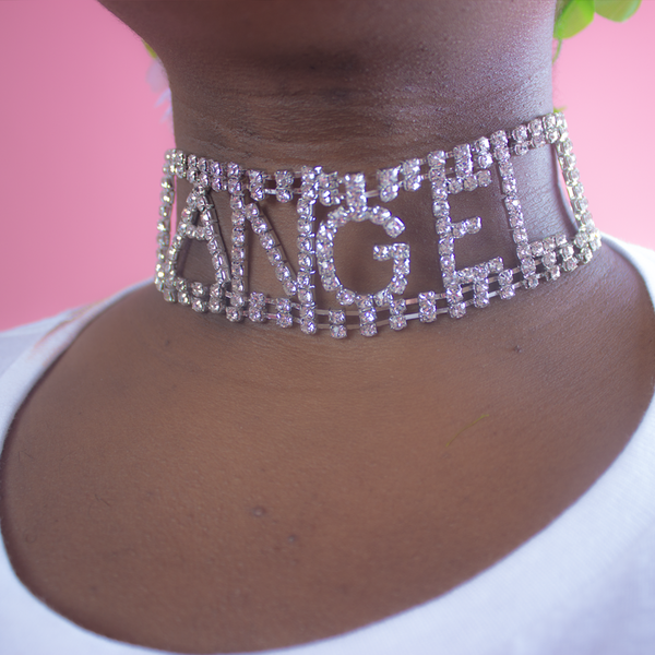 diamante diamond angel word letter necklace choker collar available from BABY VOODOO - babyvoodoo.com accessories