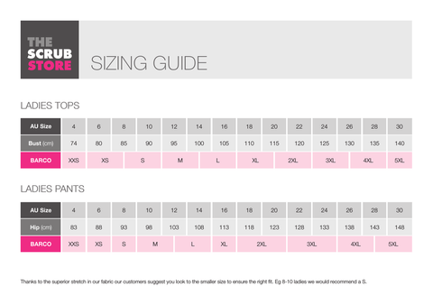 Barco Female Size Guide
