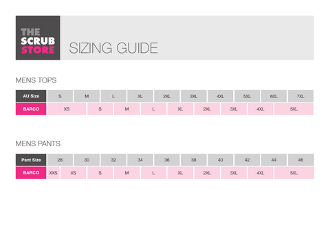 Barco Men's Size Guide